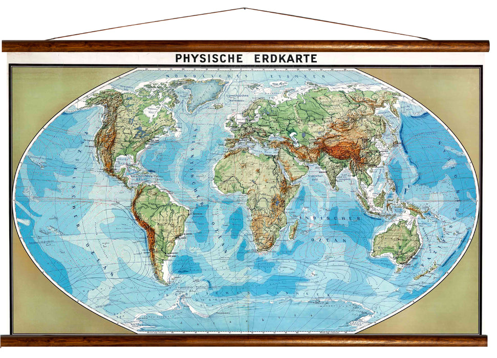 Physical earth map, reprint on linen - Josef und Josefine