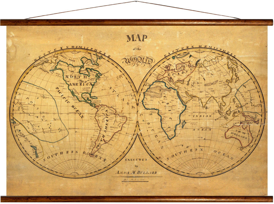 Map of the world, reprint on linen - Josef und Josefine