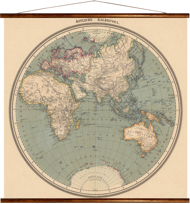 Eastern hemisphere, reprint on linen - Josef und Josefine