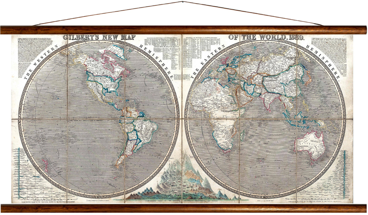 Gilberts new map of the world, 1839, reprint on linen - Josef und Josefine