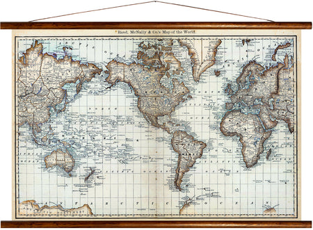 Rand, McNally & co's map of the world, reprint on linen - Josef und Josefine
