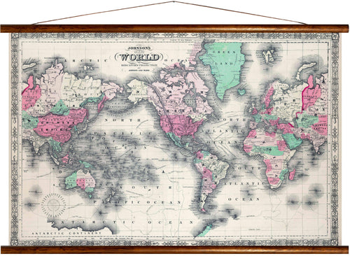 Johnson's map of the world, in mercators projection, reprint on linen