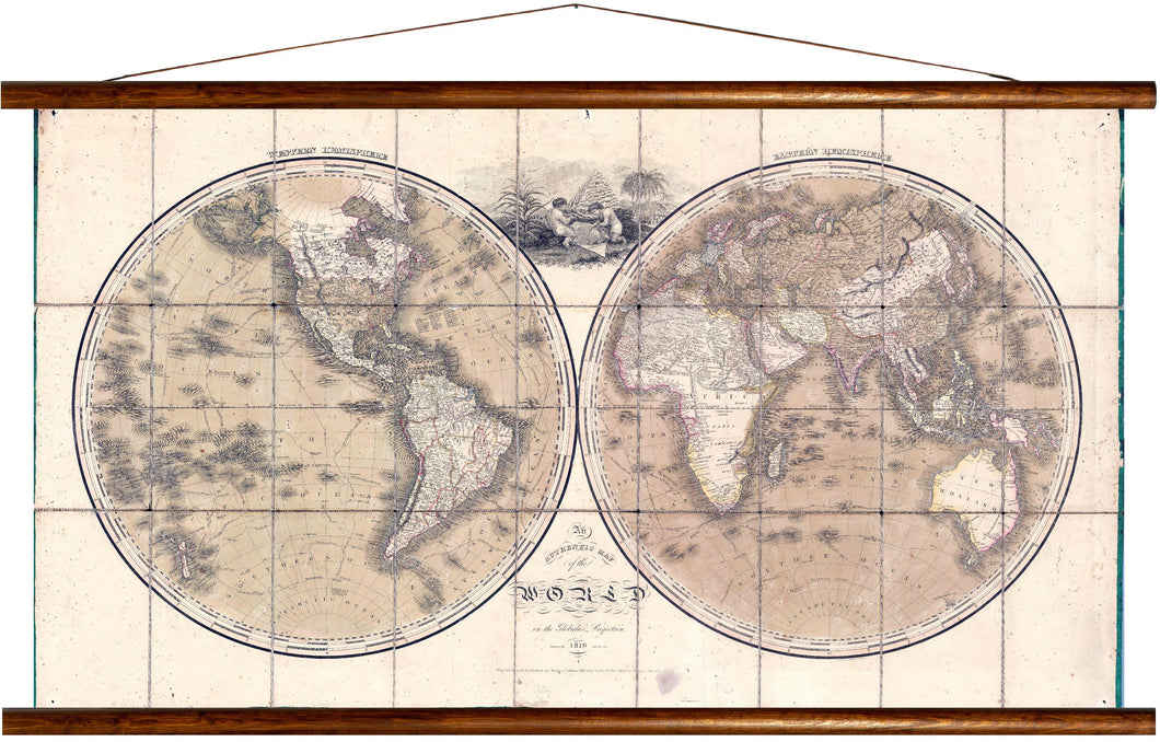 Map of the world, on the global projection, 1819, reprint on linen