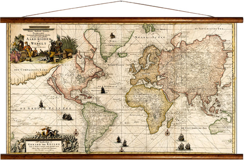 Earth map, reprint on linen