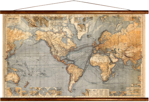 Chart of the world, mercator's projection, reprint on linen