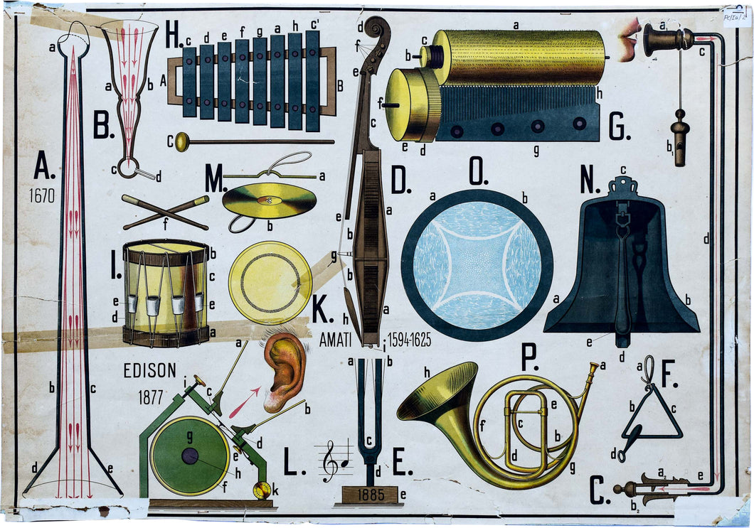 Music Instruments, Vintage Wall Chart, 1915