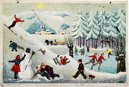 Winter, Vintage Wall Chart, 1952