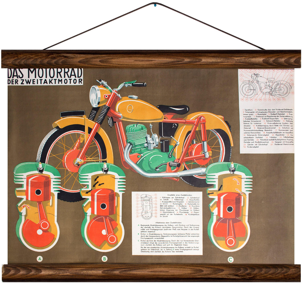 Motorbike and two-stroke engine, reprint on linen