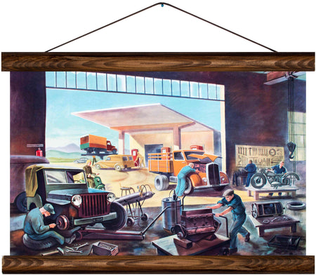 Mechanics garage, reprint on linen - Josef und Josefine