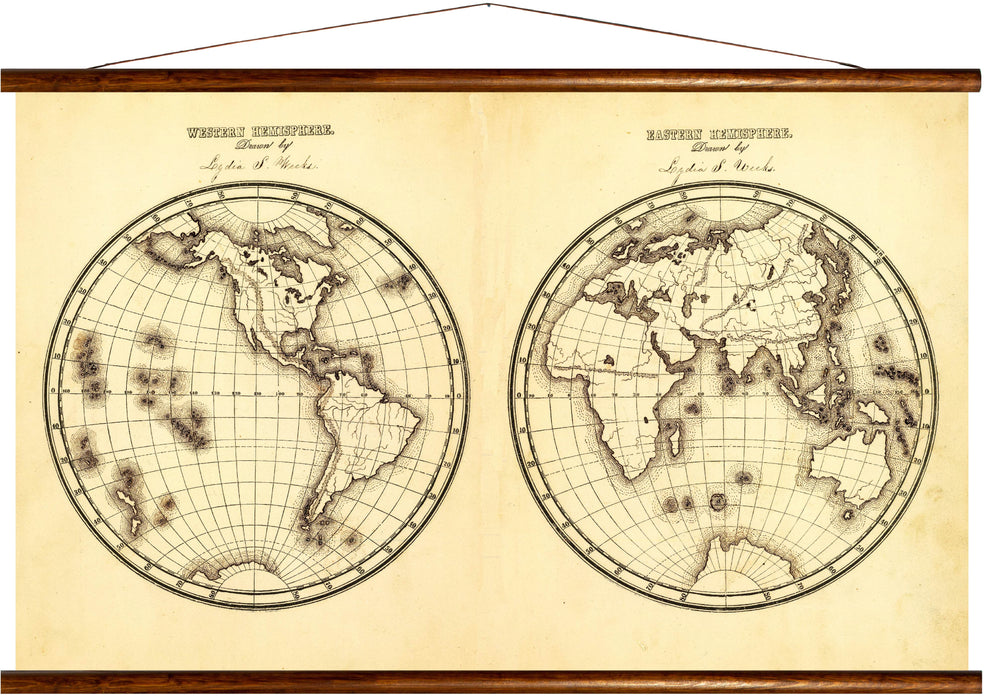 Western and eastern hemisphere, reprint on linen