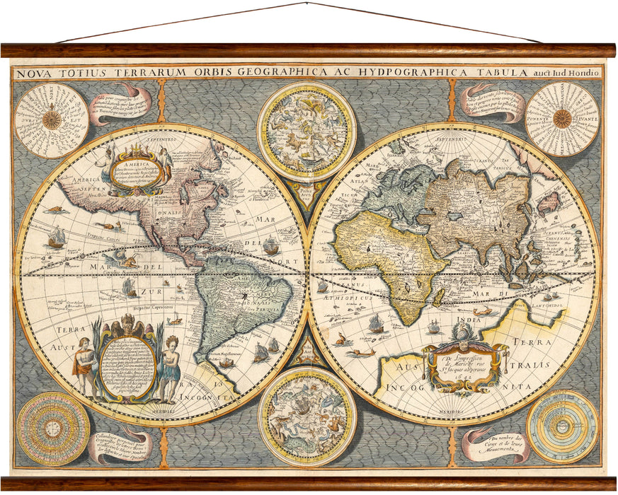 Map of the World, reprint on linen