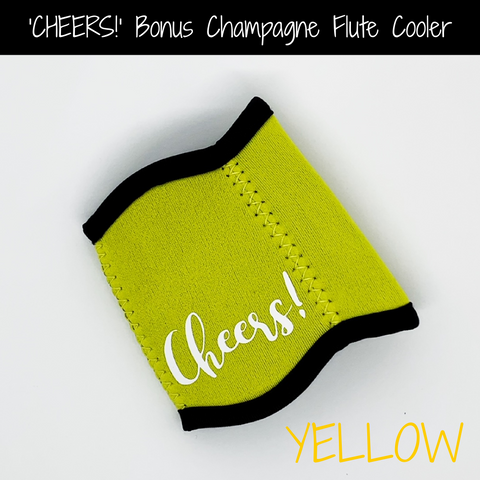 Yellow 'CHEERS!' Champagne Flute Cooler