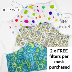 Handmade Fabric Face Mask & BONUS FILTERS - Adult & Teen Sizes, Filter Pocket, Nose Wire