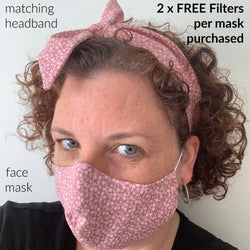 Handmade Headband & Face Mask Set BONUS FILTERS - Adult & Teen Sizes, Filter Pocket, Nose Wire
