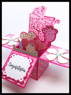 New Baby/Baby Shower Box Card - Pink