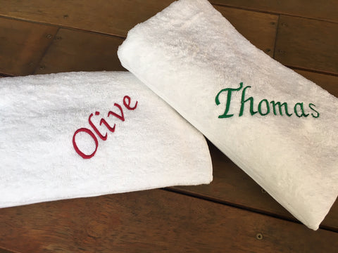 Personalised Embroidered White Bath Towel