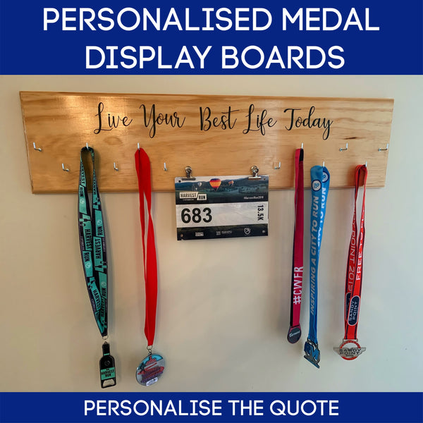 Medals Display Board with Personalised Quote
