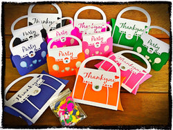 12pk Kids Birthday Party Pack - Handbag Invitations, Party Favours and Party Scatters