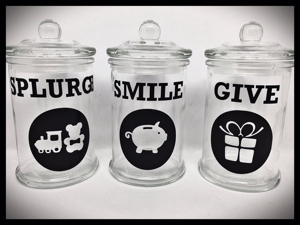 Kid's Money Jar Labels - SPLURGE, SMILE and GIVE