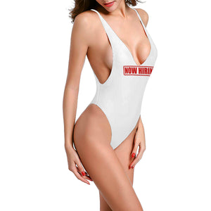 Novelty Sexy White Low Cut Back One-Piece Swimsuit Up to 3XXX