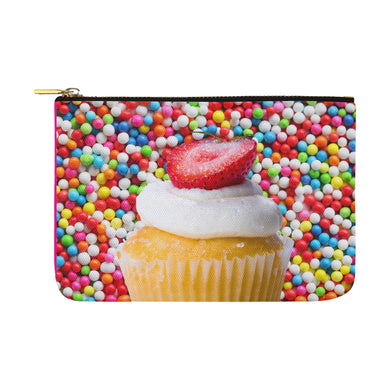 UNIQUE NOVELTY OVERSIZE MAKEUP COSMETICS TRAVEL BAG CUPCAKE 12.5''x8.5''