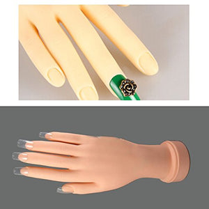 Nail TECH FAKE Training Practice Hand Adjustable Flex Soft Nail Art Model Hand