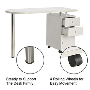 WHITE Nail Table Portable Manicure Table Station