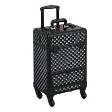 Load image into Gallery viewer, Large BLACK MAKEUP OR NAIL TECH Professional Rolling Travel Train Case