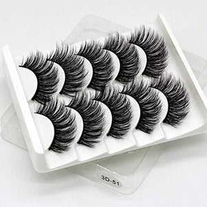 5 Pair 3D Mink Hair False Eyelashes with FREE EYELASH Tweezer,