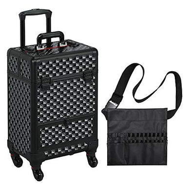 Large BLACK MAKEUP OR NAIL TECH Professional Rolling Travel Train Case