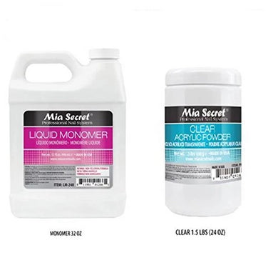 32 oz Liquid Monomer & 24 oz Clear Acrylic Powder Set Mia Secret