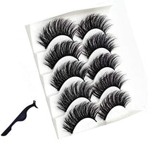 Load image into Gallery viewer, 5 Pair 3D Mink Hair False Eyelashes with FREE EYELASH Tweezer,