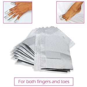 Nail Remover Foil Wraps + 1x Steel Remover Scraper Cuticle Pusher Kit