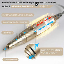 Load image into Gallery viewer, CHAMPAGNE PROFESSIONAL 30,000 RPM Nail Drill for Acrylic Nails