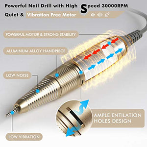 CHAMPAGNE PROFESSIONAL 30,000 RPM Nail Drill for Acrylic Nails