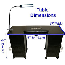 Load image into Gallery viewer, Black Steel Vented Double Storage Manicure Nail Table Desk Salon Spa Equipment & FREE LAMP!