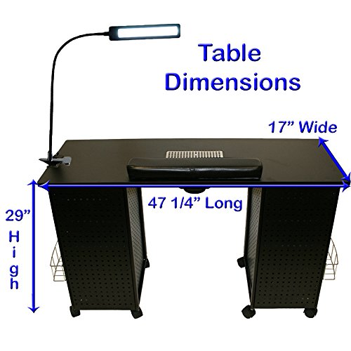 Black Steel Vented Double Storage Manicure Nail Table Desk Salon Spa Equipment & FREE LAMP!