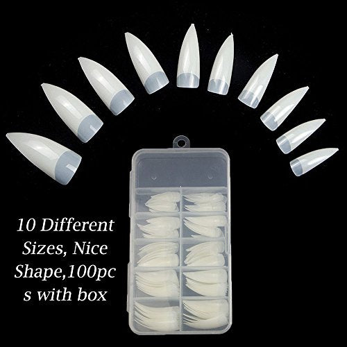 100PCS Stiletto Nail Tips Shape Natural Half Cover False Nails