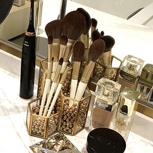 Gold Glass Makeup/NAIL Brush Holder Handmade, 3 Slot Cosmetics Organizer