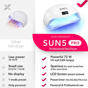 DOUBLE HAND SUN 5 Pro Best UV LED Nail Lamp 72W