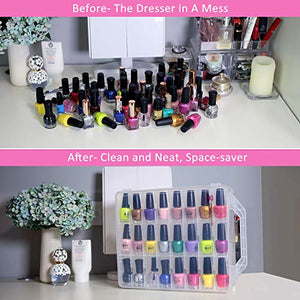 Clear Nail Polish Organizer Holder for 48 Bottles Adjustable Dividers Space Saver