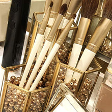 Load image into Gallery viewer, Gold Glass Makeup/NAIL Brush Holder Handmade, 3 Slot Cosmetics Organizer