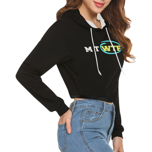 Crop Top Black and White Novelty Hoodie for Women Up to 2XXL Plus Size