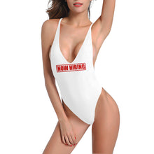 Load image into Gallery viewer, Novelty Sexy White Low Cut Back One-Piece Swimsuit Up to 3XXX