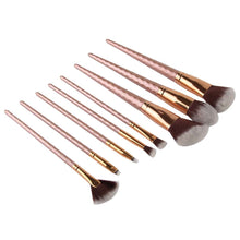 Load image into Gallery viewer, 8pcs Professional Brushed Gold Professional Designer Makeup Brush Set
