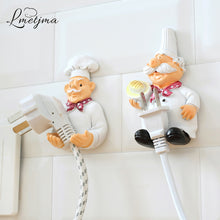Load image into Gallery viewer, LMETJMA 2pcs/lot Cute Self Adhesive Wall Plug Holder Self Adhesive Plug Hook Kitchen Plug Hanger KCBII011303X2