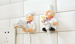 LMETJMA 2pcs/lot Cute Self Adhesive Wall Plug Holder Self Adhesive Plug Hook Kitchen Plug Hanger KCBII011303X2