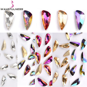 10Pcs Colorful Wing Pattern Crystal Rhinestones Holo Glass Stone Nail Charms for Nails Gems Manicure 3D Nail Art Decorations