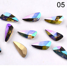 Load image into Gallery viewer, 10Pcs Colorful Wing Pattern Crystal Rhinestones Holo Glass Stone Nail Charms for Nails Gems Manicure 3D Nail Art Decorations