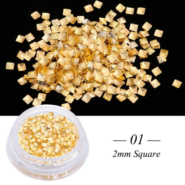 1 Box Nail Art Metal Gold Silver Multi-shape Chains Round Triangle Square Studs Glitter 3D Charms Spangles Decoration Tool JI085